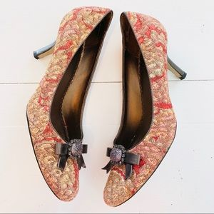 """Madeline Red Gold Brown Fabric Heels """"Laci"""" 9M"""